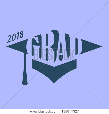 Purple and Blue 2018 Grad Vector Graphic with Graduation Cap and Tassel