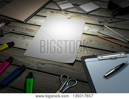 Clip Board And Papers And A Pencil With A Ruler On It 3D Render