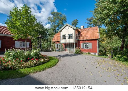 NORRKOPING, SWEDEN - SEPTEMBER 28, 2008: Old historic wooden house belonging to Norrkoping city museum. Norrkoping is a historic industrial town.