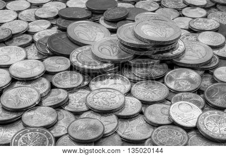 Stacked euro coins crashed because of financial crises