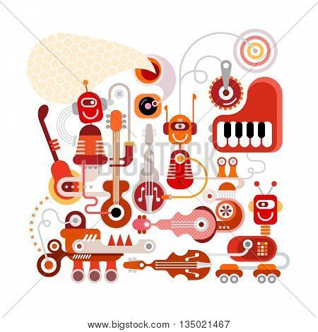Musical robots vector illustration isolated on a white background. Welcome to the future were funny robots will do all the boring job.
