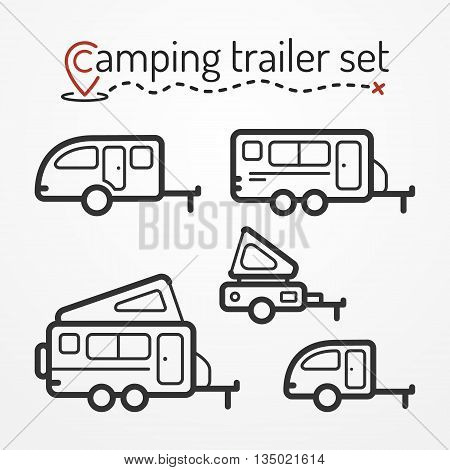 Set of camping trailer icons. Travel trailer symbols in silhouette line style. Camping trailers vector stock illustration. Five trailers with camping equipment.