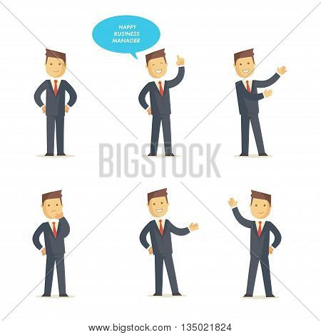 Businessman manager set in different interactive poses. Vector character