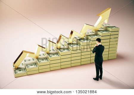 Financial growth concept with thoughtful businessperson next to dollar banknote ladder and golden upward arrow on pinkish background. 3D Rendering
