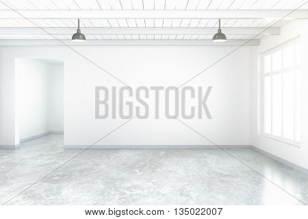 Empty room interior with blank concrete wall floor ceiling and window. Mock up 3D Rendering