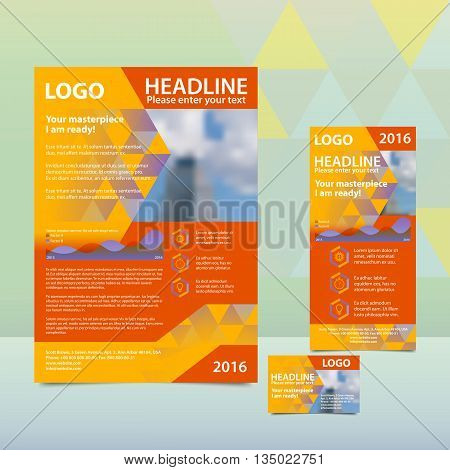 Orange annual report with the pattern of triangles brochure flyer and business card design template. Triangles Pattern for Business Presentations. Report with infographics. A4 layout 1/3 A4 card