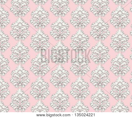 Vintage pattern with damask ornament in rose color. Vector