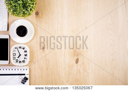 Clock, Coffee And Stationery