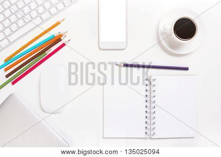 White Office Desk Closeup