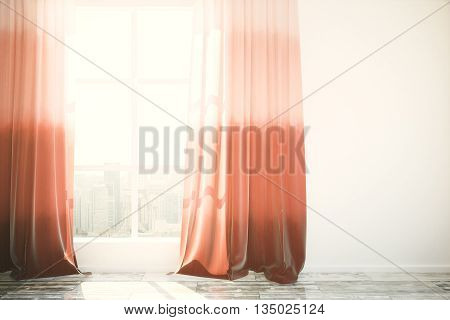 Red Curtains In Interior