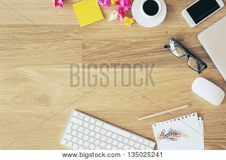 Desktop With Office Items