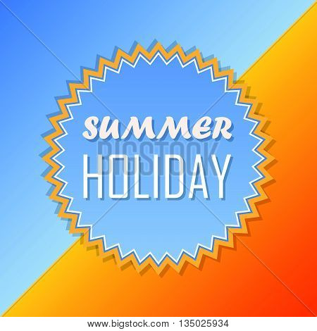 text summer holiday and sun in yellow and blue, abstract summery retro label, flat design, vector