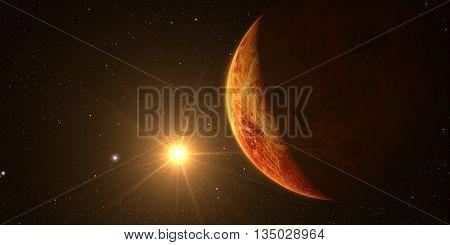 Venus. Cinematic and very realistic sunrise seen from space on venus, 3d rendering.