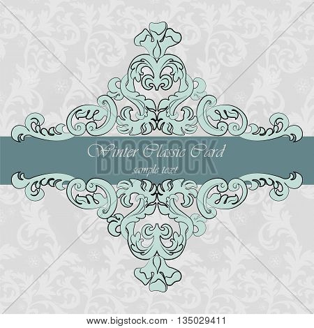 Invitation card with Renaissance Royal classic in blue. Vector