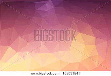 Vector abstract triangulated background in orange and dark magenta colors