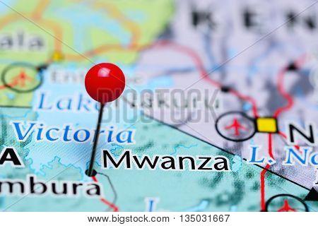 Mwanza pinned on a map of Tanzania