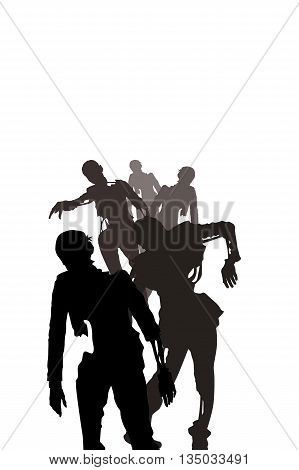 illustration of black silhouettes of zombies on white background