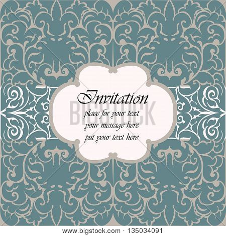 Invitation card with vintage abstract classic ornaments. Vector