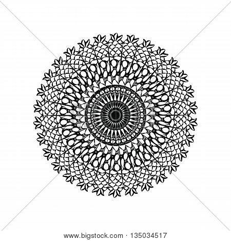 Delicate crochet lace round ornament in black. Vector