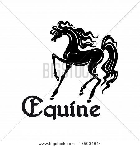 Black silhouette of elegant arabian mare with high raised legs at a passage movement. Use as horse breeding farm symbol or horse show theme design