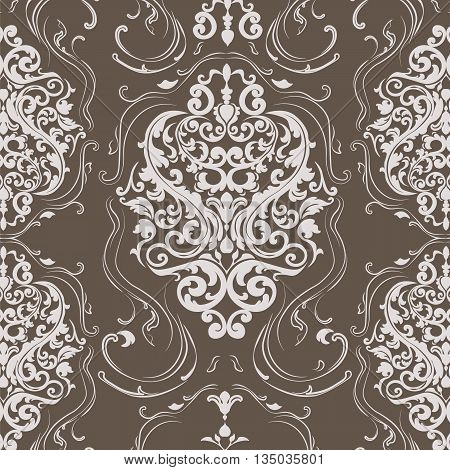 Vector floral damask ornament pattern. Elegant luxury texture for textile fabrics or wallpapers backgrounds. Milk chocolate colors