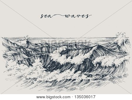 Sea or ocean waves drawing. Sea view, waves breaking on the beach