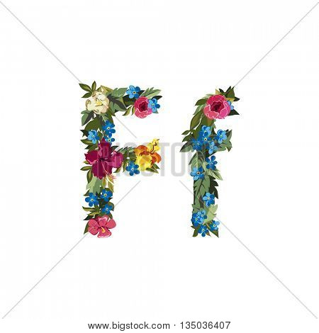 F letter. Flower capital alphabet. Colorful font. Uppercase and lowercase. Vector illustration. Grotesque style. Floral alphabet.