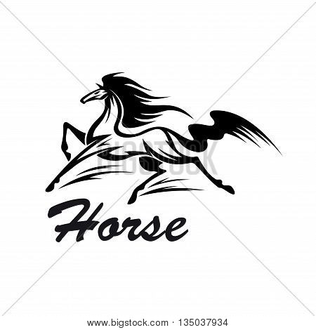 Riding club symbol for equestrian sport design with black and white silhouette of running horse with muscular body and strong long legs