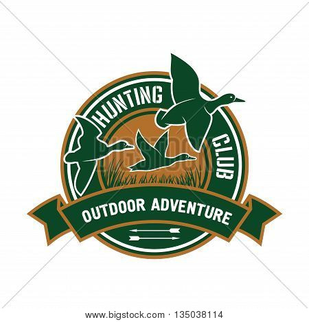 Duck hunting insignia for hunting club sporting design with retro stylized round badge with flying flock of mallard ducks, decorated by ribbon banner with text Outdoor Adventure