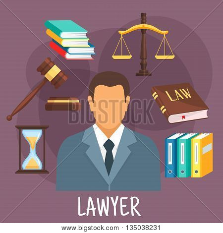 Confident lawyer in business suit icon with scales of justice, law book and gavel of judge, pile of books, hourglass and folders with cases. Legal protection and lawyer services design. Flat style