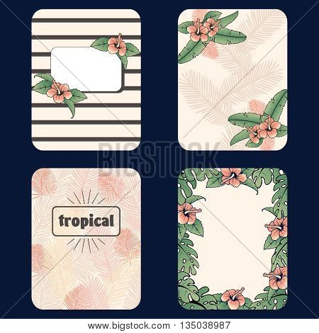 Set of 4 French retro style tropical designs. Graphics are grouped and in several layers for easy editing. The file can be scaled to any size.