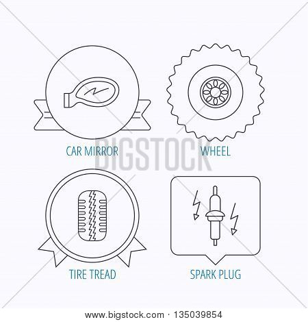 Wheel, car mirror and spark plug icons. Tire tread linear sign. Award medal, star label and speech bubble designs. Vector