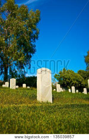 Single Headstone In National Cemetery