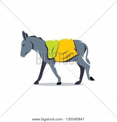 Farm animal with bags on her back. Isolated on a white background