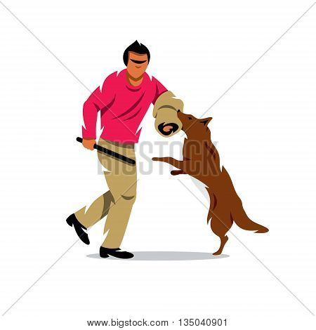The man with stick plays with a dog. Isolated on a White Background