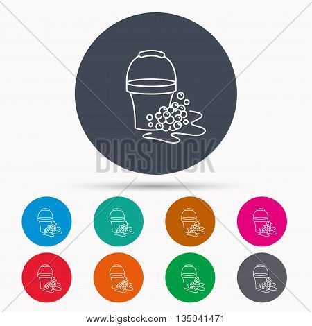 Soapy cleaning icon. Bucket with foam and bubbles sign. Icons in colour circle buttons. Vector