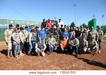 ARLINGTON, TX - APR 18: Participants at the ACM & Cabela's Great Outdoor Archery Event at the Texas Rangers Youth Ballpark on April 18, 2015.