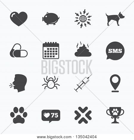 Calendar, go to web and like counter. Veterinary, pets icons. Dog paw, syringe and winner cup signs. Pills, heart and feces symbols. Sms speech bubble, talk symbols.