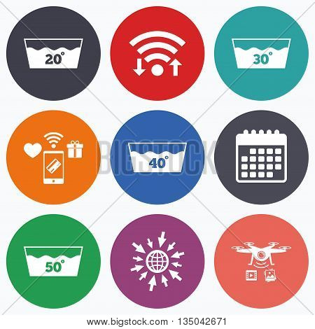 Wifi, mobile payments and drones icons. Wash icons. Machine washable at 20, 30, 40 and 50 degrees symbols. Laundry washhouse signs. Calendar symbol.