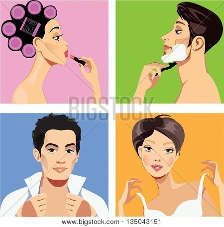 men and women doing morning makeup and clothe oneself