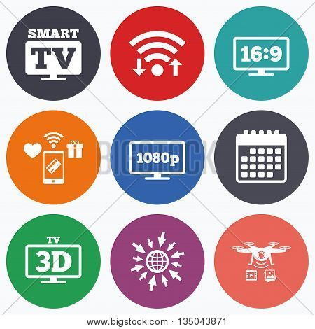 Wifi, mobile payments and drones icons. Smart TV mode icon. Aspect ratio 16:9 widescreen symbol. Full hd 1080p resolution. 3D Television sign. Calendar symbol.