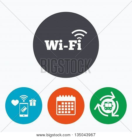 Free wifi sign. Wifi symbol. Wireless Network icon. Wifi zone. Mobile payments, calendar and wifi icons. Bus shuttle.