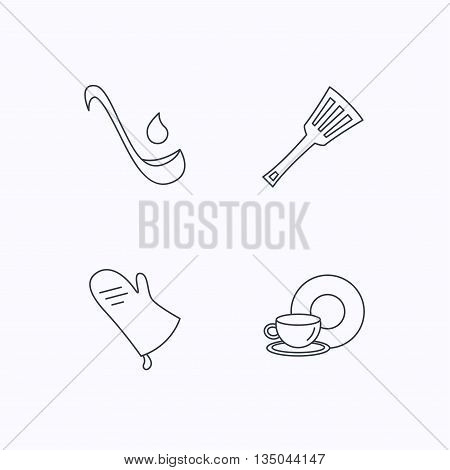Soup ladle, potholder and kitchen utensils icons. Food and drink linear signs. Flat linear icons on white background. Vector