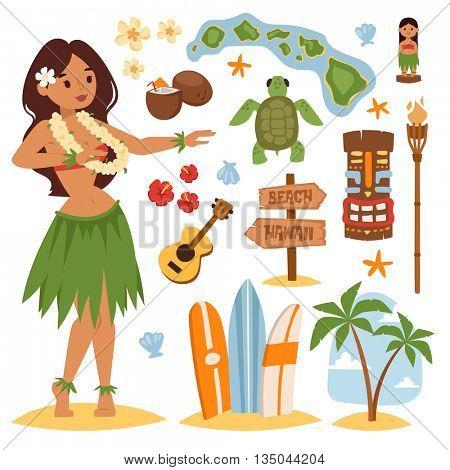 Hawaii vector set.