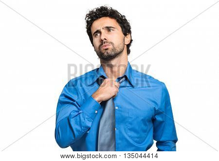 Sweating businessman due to hot climate isolated on white