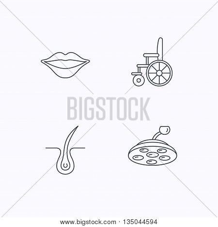 Trichology, surgical lamp and wheelchair icons. Lips linear sign. Flat linear icons on white background. Vector poster