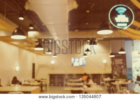 Restaurant blur background with bokeh of lamplight. Blur scene.