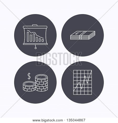 Chart, cash money and statistics icons. Coins linear sign. Flat icons in circle buttons on white background. Vector