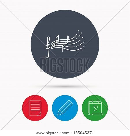 Songs for kids icon. Musical notes, melody sign. G-clef symbol. Calendar, pencil or edit and document file signs. Vector
