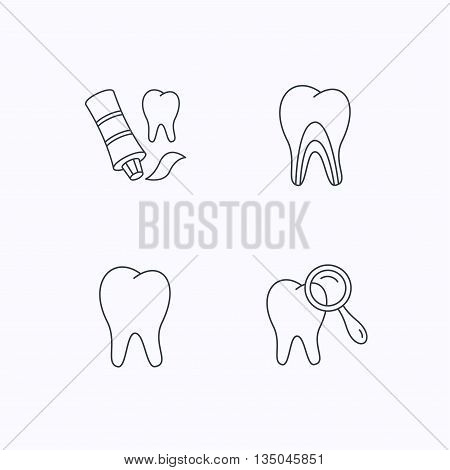 Tooth, dental diagnostics and toothpaste icons. Dentinal tubules linear sign. Flat linear icons on white background. Vector